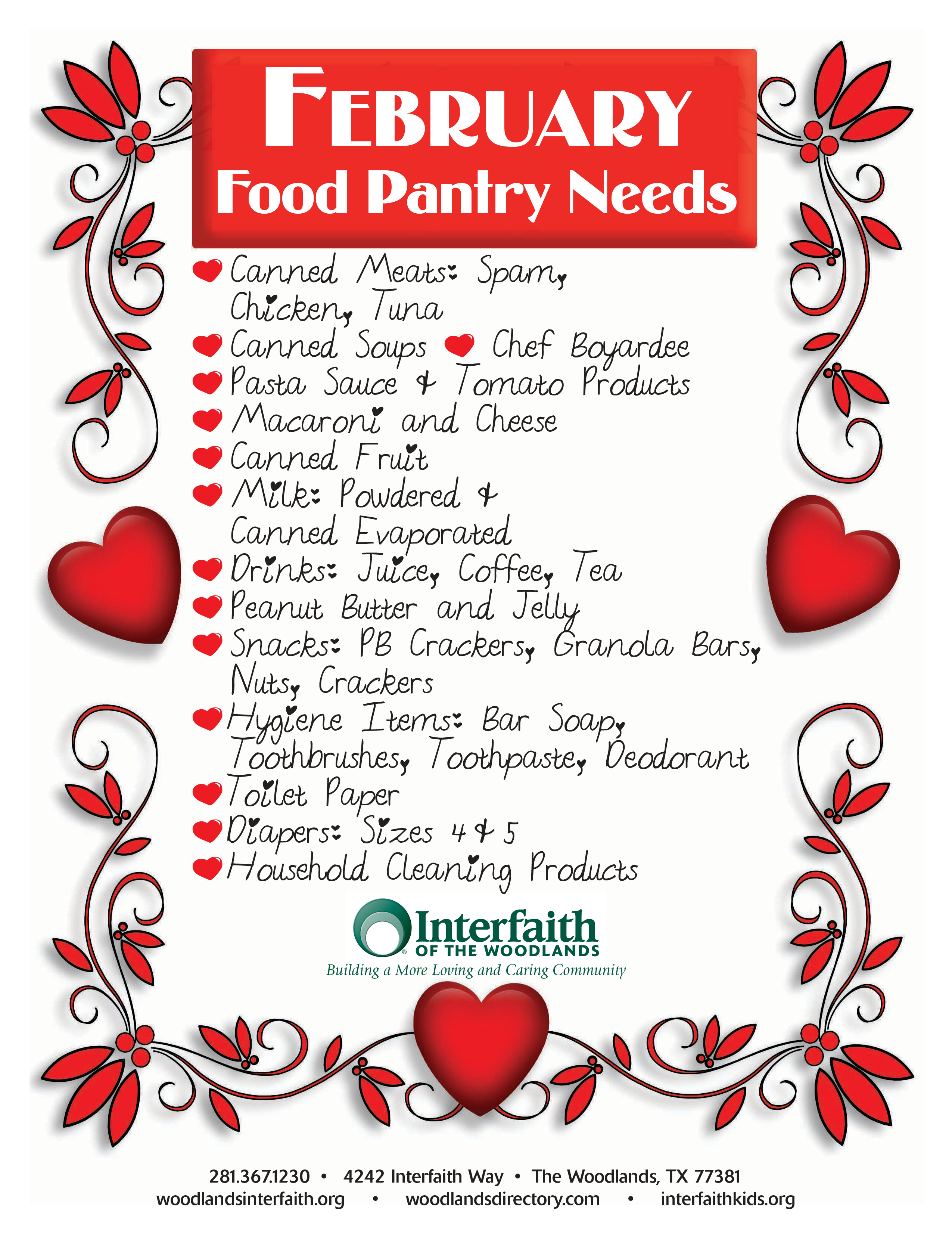 Food Pantry Needs February Interfaith Of The Woodlands