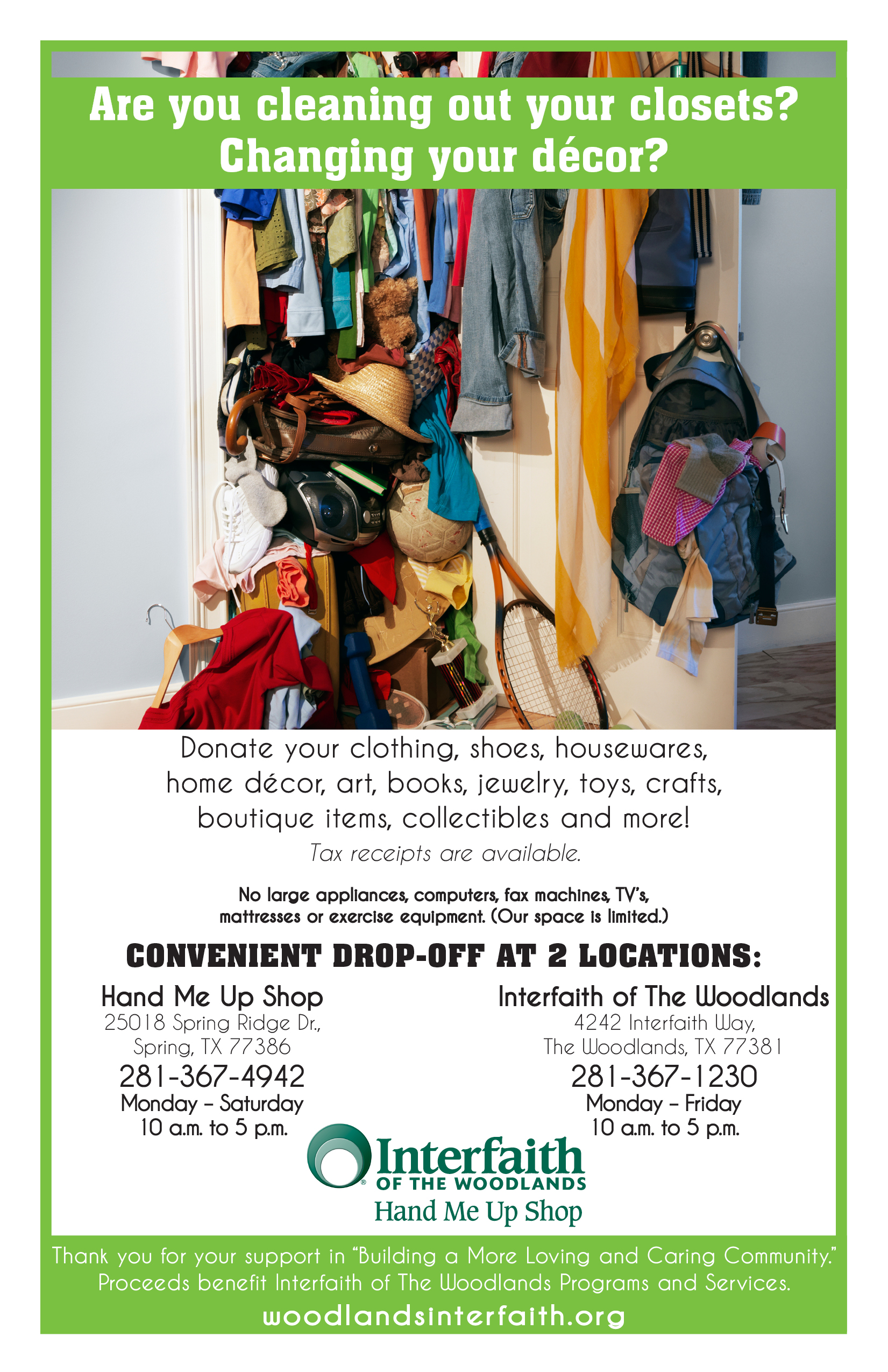 hmus donation flyer clean out closets interfaith of the woodlands